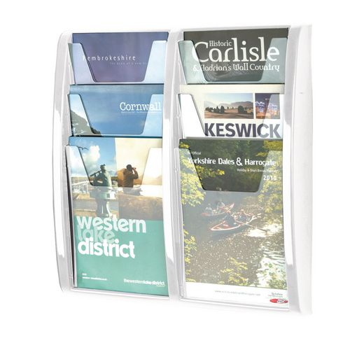Leaflet Dispenser Wall Mounted 6Xa4 Pockets White