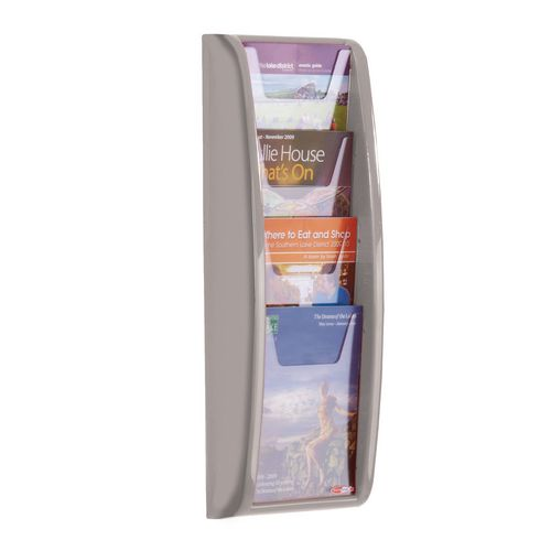 Leaflet Dispenser Wall Mounted 4Xa5 Pockets Grey