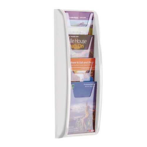 Leaflet Dispenser Wall Mounted 4Xa5 Pockets White