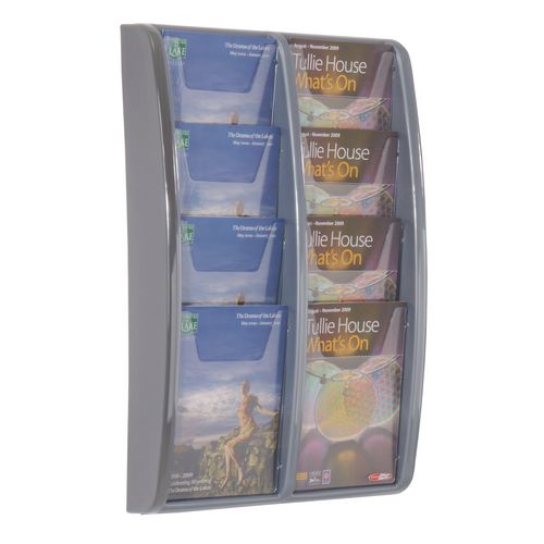 Leaflet Dispenser Wall Mounted 8Xa5 Pockets Grey