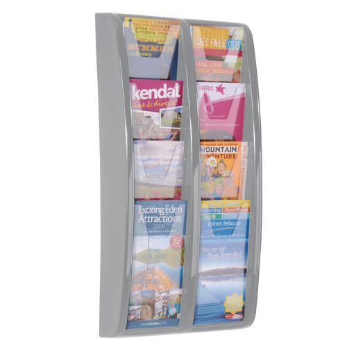 Leaflet Dispenser Wall Mounted 8 DL Size Pockets Grey