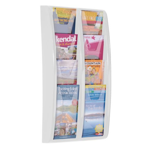 Leaflet Dispenser Wall Mounted 8 DL Size Pockets White