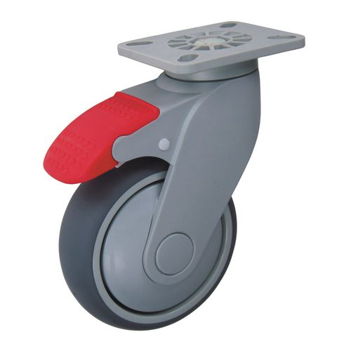 Castors Grey Rubber Tyred 125mm Dia Swivel &Brake 168mm Fitted Height 70Kg Load Capacity