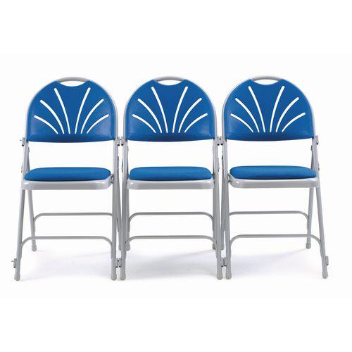 Chair Folding Upholstered Comfort Back Pk4 Blue Uphols