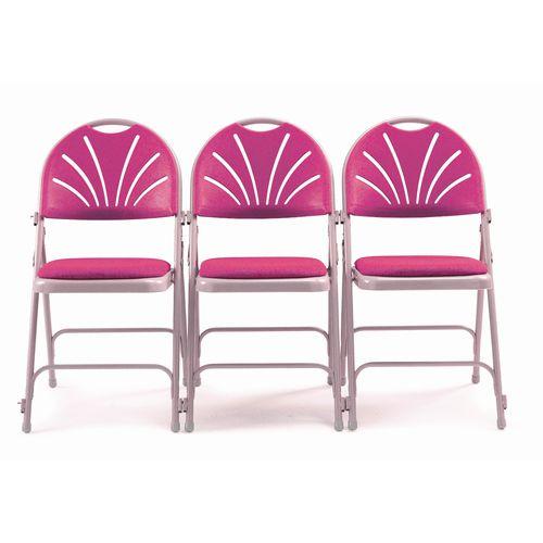 Chair Folding Upholstered Comfort Back Pk4 Burgundy
