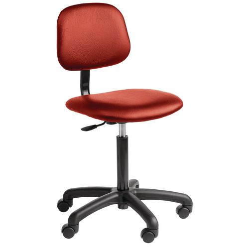 Chair Vinyl Industrial 5 Star Base With Castors Red