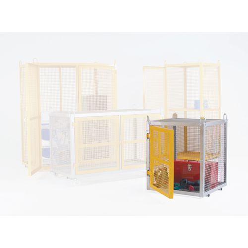 Cage Security Mobile Galvanised With Yellow Doors W700mm H945mm