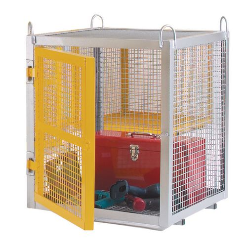 Cage Security Static Galvanised With Yellow Doors W700mm H945mm