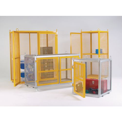 Cage Security Static Galvanised With Yellow Doors W1400mm H945mm