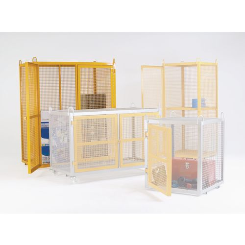 Cage Security Mobile Galvanised With Yellow Doors W1400mm H1745mm
