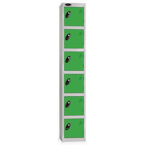 6 Door Locker D:457mm Silver Body &Green Door