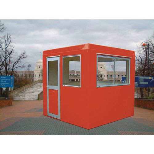 Gatehouse-Security Red With 3 Sliding Windows