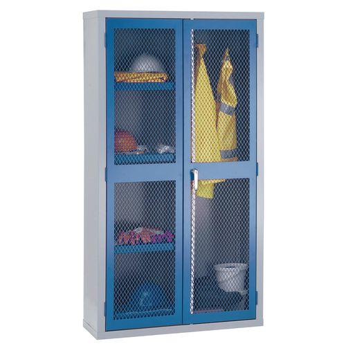 1830x915x459 Mesh Door Cabinet Centre Divider Hanging Rail &3 Shelves Blue Doors