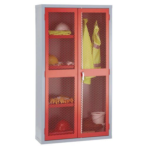 1830x915x459 Mesh Door Cabinet Centre Divider Hanging Rail &3 Shelves Red Doors