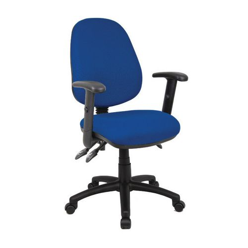 Vantage With Adjustable Arms High Back Operators Chair Adjustable Arms Blue