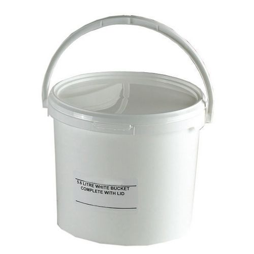 Round Tapered Bucket with Lid16L White Pjet Pack Of 10