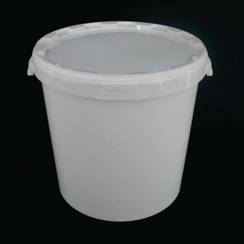 Round Tapered Bucket with Lid30L White Pjet Pack Of 10
