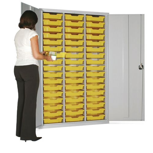 Lockable Steel Cupboard With 51 Red Trays
