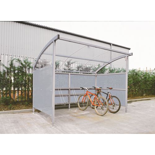 Premium Cycle Shelter And Cycle Rack - Extension Shelter - Plastic Roof And Perforated Steel Sides Grey