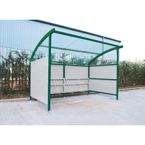 Premium Cycle Shelter And Cycle Rack - Extension Shelter - Plastic Roof And Perforated Steel Sides Green