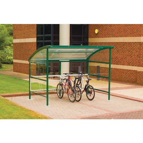 Premium Cycle Shelter And Cycle Rack - Extension Shelter - Plastic Roof And Sides Green