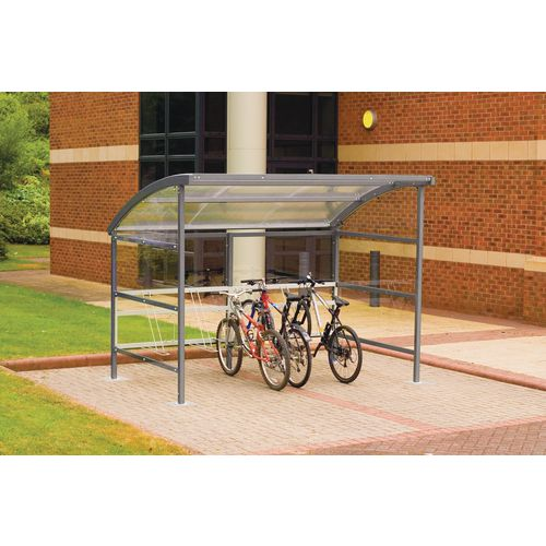Premium Cycle Shelter And Cycle Rack - Extension Shelter - Plastic Roof And Sides Grey