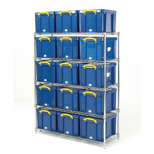 Dssu1 Shelving Unit Wire Shelf + 15 Debc Blue Containers