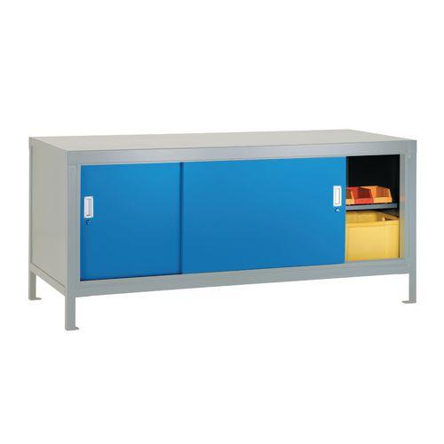 Full Area Sliding Door Cabinet Blue