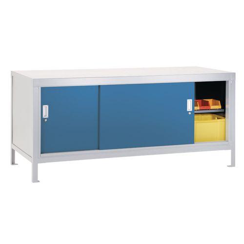 Full Area Sliding Door Cabinet Light Grey