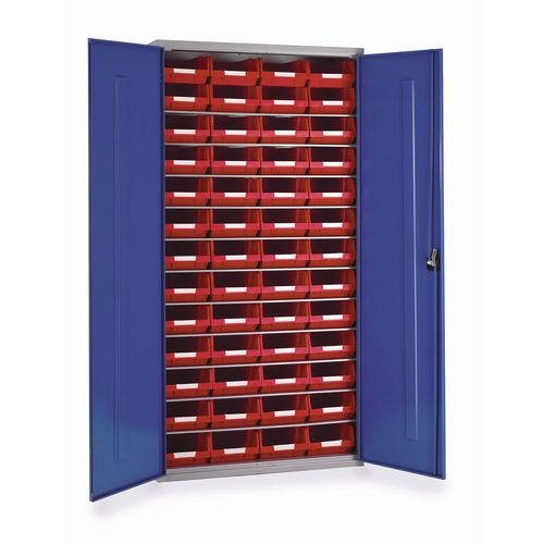Cabinet H1000Xw1015Xd430mm C/W 24Xtc4 Red &5 Shelves
