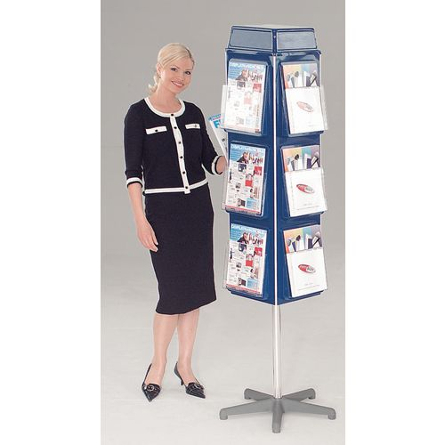 Busybase 4 Sided Revolving Leaflet Dispenser A5 Blue