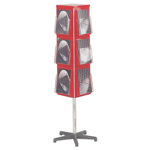 Busybase 4 Sided Revolving Leaflet Dispenser A5 Red