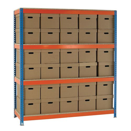Heavy Duty Painted Archive Unit Plain Box Height 2100mm Shelf Size D450mm With 30 Archive Boxes