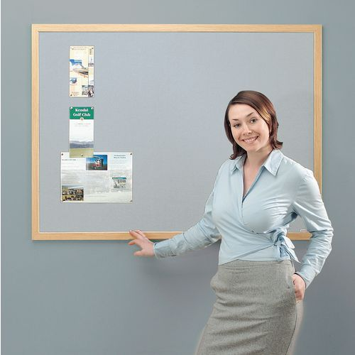 Eco-Friendly Noticeboard 1200x900mm Light Oak Frame Grey Board