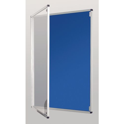 Standard Tamperproof Noticeboard Silver/Blue Aluminium/Plastic/Fabric HxW mm: 900x600