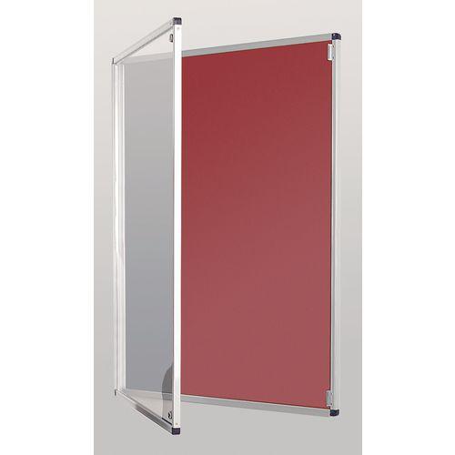 Standard Tamperproof Noticeboard Silver/Burgundy Aluminium/Plastic/Fabric HxW mm: 900x900