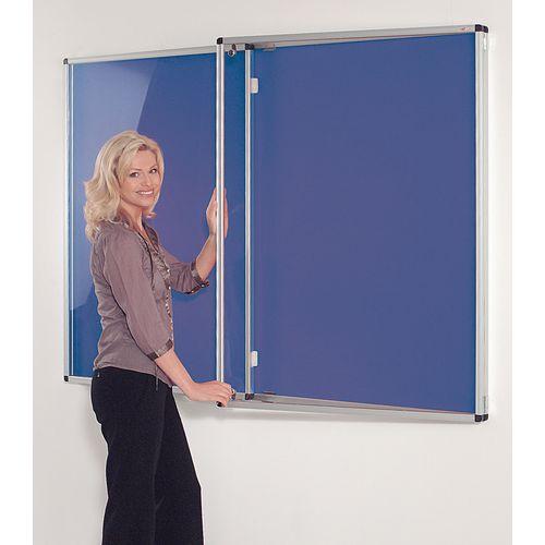 Standard Tamperproof Noticeboard Silver/Blue Aluminium/Plastic/Fabric HxW mm: 1200x1800