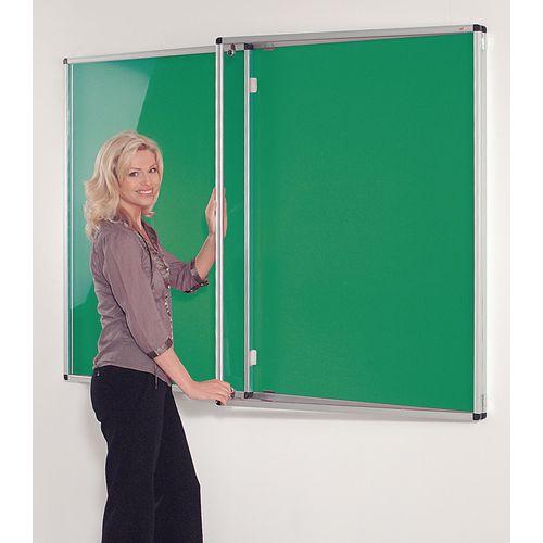 Standard Tamperproof Noticeboard Silver/Green Aluminium/Plastic/Fabric HxW mm: 1200x1800