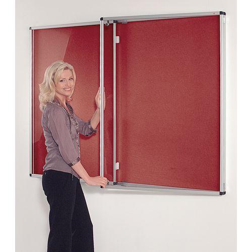 Standard Tamperproof Noticeboard Silver/Burgundy Aluminium/Plastic/Fabric HxW mm: 1200x1800