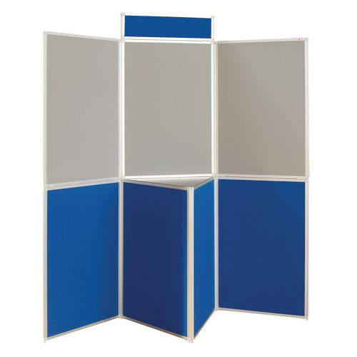 Aluminium Frame Folding Display Including Carrier Bag Black &Blue Plastic &Aluminium 7 Panel With Table Top