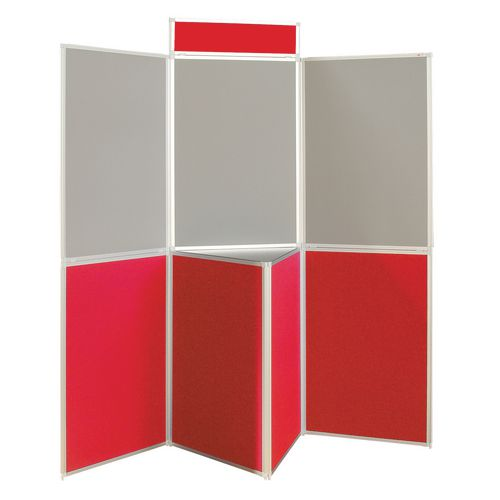 Aluminium Frame Folding Display Including Carrier Bag Black &Red Plastic &Aluminium 7 Panel With Table Top