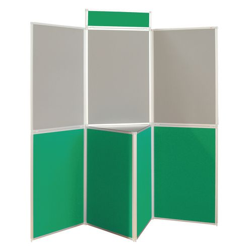 Aluminium Frame Folding Display Including Carrier Bag Black &Green Plastic &Aluminium 7 Panel With Table Top