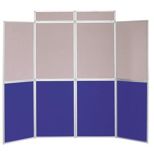 Aluminium Frame Folding Display Including Carrier Bag Black &Blue and Grey Plastic &Aluminium 8 Panel