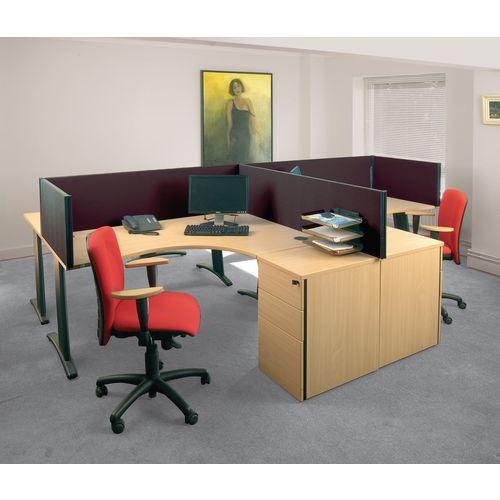Busyscreen Desk Top Rectangular Screen Black Wxdxh: 32x1200x400