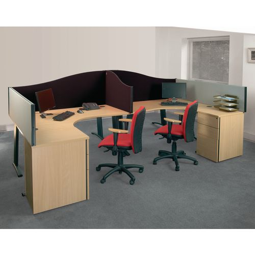 Busyscreen Desk Top Wave Screen Black Wxdxh: 32x1200x600