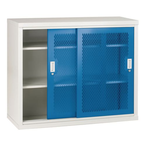 Sliding Door Mesh Cabinet 1020x1220x460 Blue