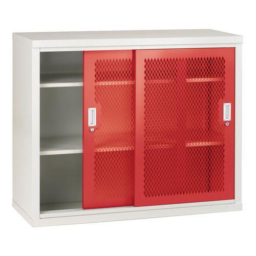 Sliding Door Mesh Cabinet 1020x1220x460 Red