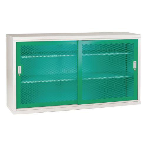 Sliding Door Mesh Cabinet 1020x1830x460 Green