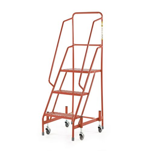 Retractable Wheel Mobile Step 2 Step With Full Handrail Mesh Tread Red
