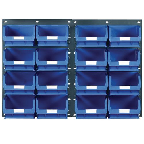 2 Tp10 Wall Mounted Panels C/W 16 Tc4 Blue Bins